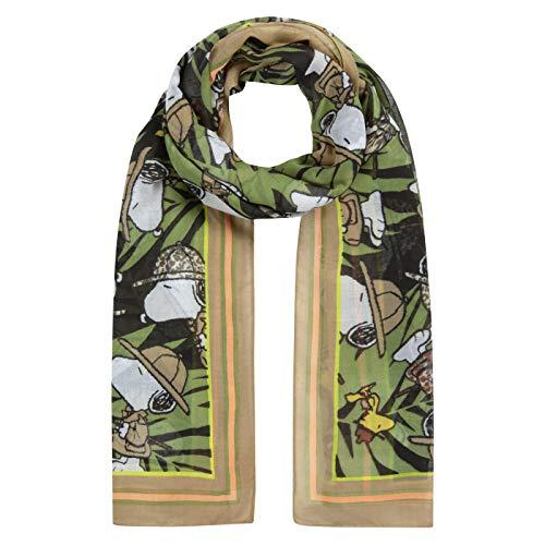 Codello Lifestyle Accessories Damen Halstuch   Tuch   im PEANUTS Design   XL-Schal mit Snoopy & Co.   aus recyceltem Polyester   in Grün, olive, einheitsgröße