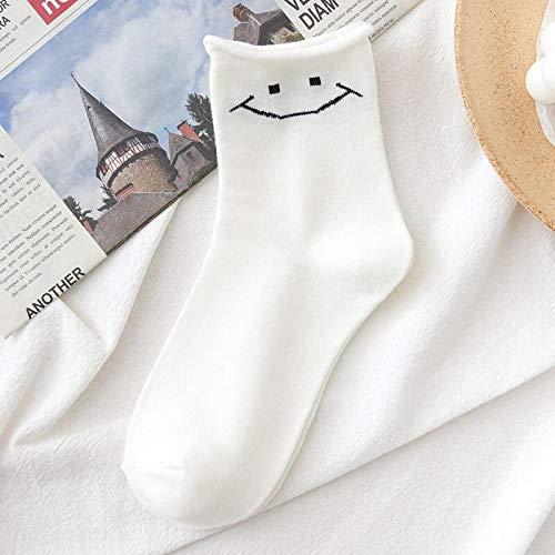 Calcetines De Mujer Estilo Coreano Japonés Dibujos Animados Flor Sonrisa Calcetines Divertidos Ropa De Calle Femenina Skate Harajuku Otoño Calcetines Casuales Sizesuitfor