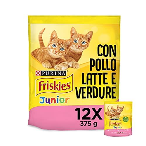 Purina Friskies Crocchette Gatto Cucciolo Kitten, con Pollo, Latte e Verdure Aggiunte, 12 Confezioni da 375 g Ciascuna, Peso Totale 4,5 kg