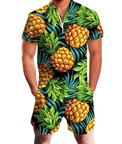 Idgreatim Herren Overalls Herren Strampler Männer 3D Grafik Strand Strampler Lässige Shorts Reißverschluss Overall Einteiler Outfits XL