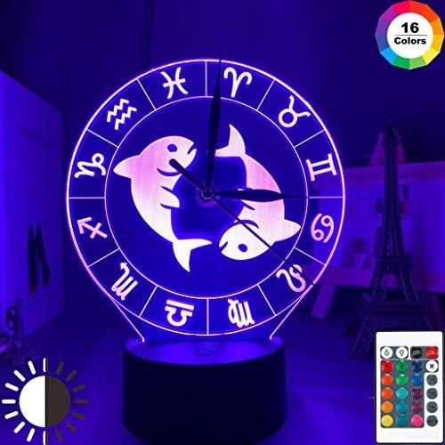 Sternbild Fische Acryl 3d Lampe mit Zeitschaltuhr für Mädchen Schlafzimmer Dekor Nachtlicht Farbwechsel Remote USB Led Nachtlicht