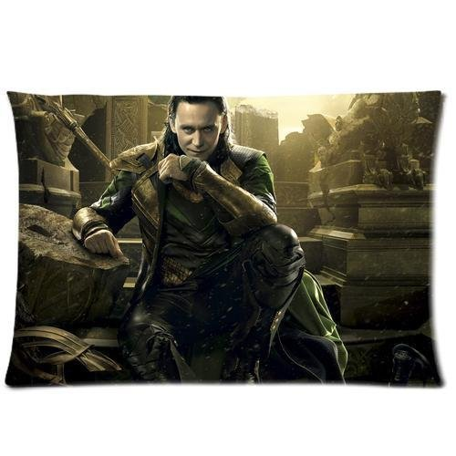 Aangepaste Tom Hiddleston The Avengers Loki Laufeyson kussensloop standaard formaat ontwerp katoenen kussensloop