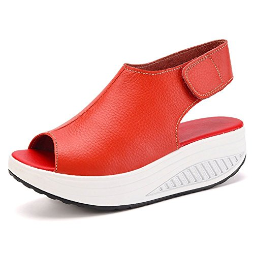 DAFENP Sandalias Mujer Plataforma Cuero Cuña Confort Peep Toe Tacón Zapatos para Caminar (EU 38, Rojo)