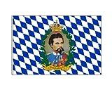Unbekannt Bayerische Fahne mit dem Porträt vom König Hissflagge 100 x 150 cm mit 2 Ösen