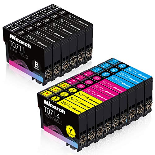 Hicorch T0715 Cartuchos de Tinta para Epson T0711 T0712 T0713 T0714 Compatible con Epson Stylus SX115 SX205 SX215 SX218 SX405 SX515W DX4000 DX4400 DX7400 DX8400 (6 Negro,3 Cian,3 Magenta,3 Amarillo)