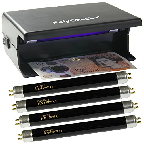 4 Watt UV Money Checker + 4 Spare DuraBulb® Bulbs - Detects Forged Polymer & Paper Bank Notes
