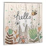 N \ B Cortina de ducha de conejo gris con diseño de conejo y amor say hola color planta flor hoja con mariposa animal beis cortina de ducha impermeable 183 x 183 cm
