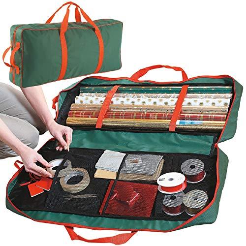 Ram® Sac de rangement en tissu pour papier cadeau de Noël