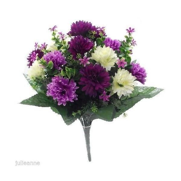 Flores artificiales – 41cm SPIKEY CRISANTEMO MEZCLA DE BUSH DE MARFIL / lila / violeta