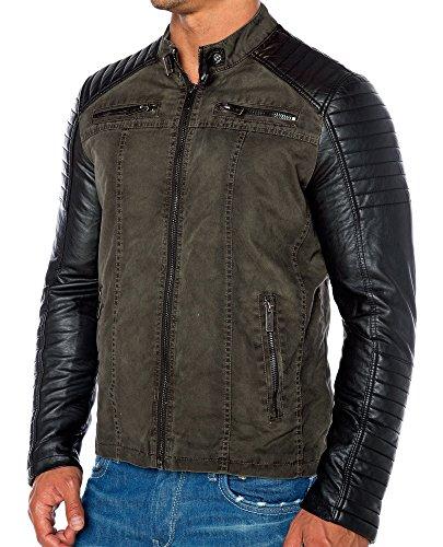 Red Bridge Jacke Herren Biker Kunstleder Lederjacke Redbridge Jacket mit gesteppten Bereichen (XL, Khaki) - 2