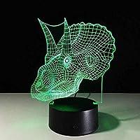 Tatapai 3DナイトライトLEDイリュージョンランプトリケラトプス恐竜子供カップル家族の寝室リビングルーム誕生日ホリデーギフトランプ