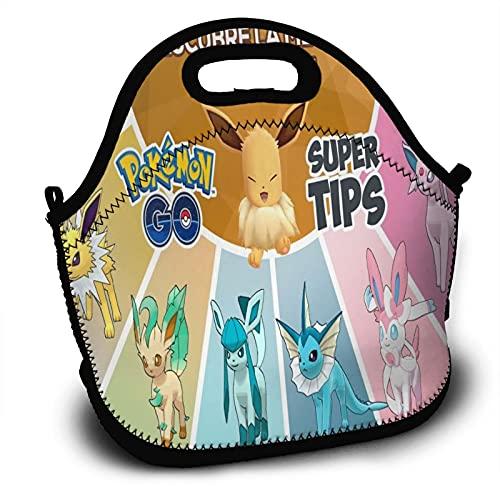 Bolsa de almuerzo aislada de Pokemon resistente al agua, a prueba de fugas, suave bolsa enfriadora para adultos y niños