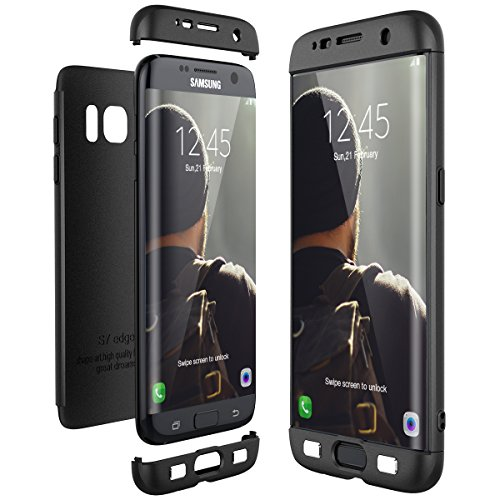 CE-Link Cover per Samsung Galaxy S7 Edge 360 Gradi Full Body Protezione, Custodia S7 Edge Silicone Rigida 3 in 1 Samsung S7 Edge - Nero