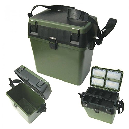 Fishing Fishing Seat & Tackle Box - Seatbox for all Styles of Fishing with Shoulder Strap - Green