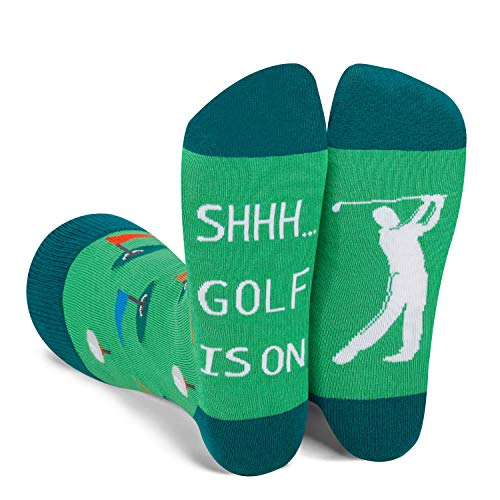 Zmart Golf Socks for Men with Funny Saying Golf Is On-Novelty Golfing Gifts for Golf Lover Golfer