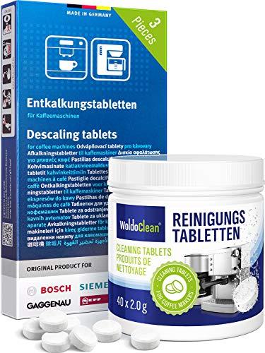 Kit d'entretien compatible avec les machines à café Siemens - 3 x tablettes détartrantes et 40 tablettes de nettoyage.