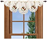 Linens, Art and Things Embroidered 14 X 54 Inch Rooster & Hen Window Valance