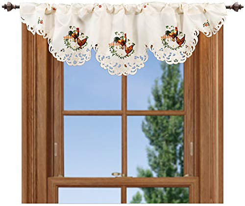 Embroidered 14 X 54 Inch Rooster & Hen Window Valance