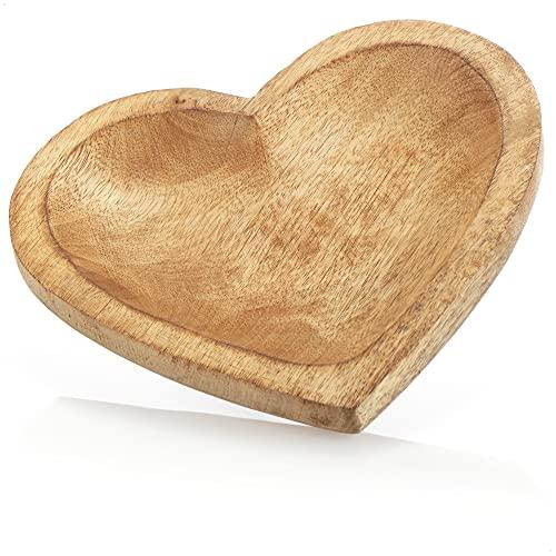 com-four Cuenco Decorativo de Madera de Mango - Bandeja de Madera en Forma de corazón para la decoración de la habitación - Cuenco de Madera para Fruta y Aperitivos (20.5x20x2.5cm)