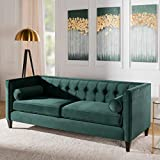 Jennifer Taylor Home Jack Collection Modern Hand Tufted Upholstered Sofa With 2 Bolster Pillows and Hand Finish Legs, Hunter Green