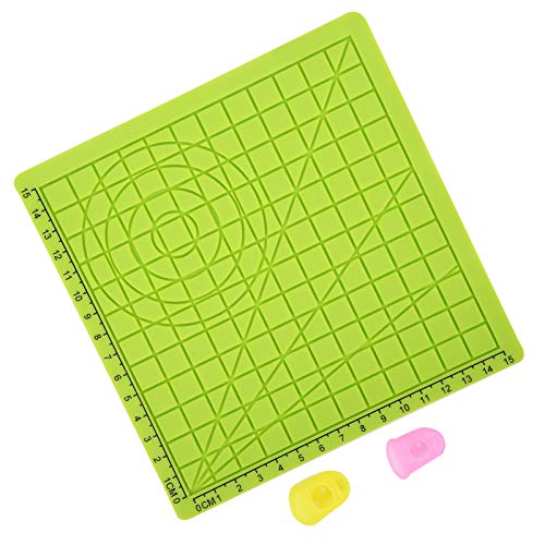 High Efficiency 3D Printing Silicone Mat Green Silicone Design Mat 3D Printing Template Mat for Kids Adults with 2 Finger Protectors