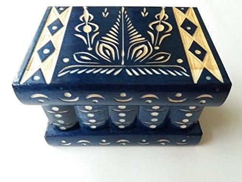 New blue beautiful special handcarved,handmade wooden puzzle box,secret box,magic box,jewelry box,brain teaser,storage box,flower designe box,jigsaw puzzle