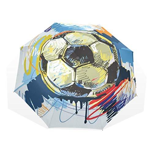 LASINSU Regenschirm,Ball Fußball Zusammenfassungs Fußball Sport Design Erholungs Grafik populärer Schattenbild Spaß schmutziger Kreis,Faltbar Kompakt Sonnenschirm UV Schutz Winddicht Regenschirm