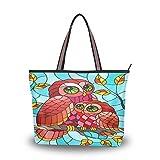 Mnsruu - Bolso de mano con cremallera para mujer, tamaño grande, bolsa de la compra casual, L (colorido hada roja búho sobre rama), color, talla Large