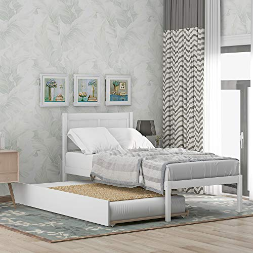 Twin Bed with Trundle, Solid Wood Twin Size Platform Bed Frame w/Headboard,Wooden Bed Frame Twin Trundle Bed (White)