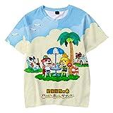 HYPETY T-Shirt De Animal Crossing, Garçons Filles Dessin Animé Imprimé Col Rond À Manches Courtes T-Shirt Décontracté Hauts D'été,F,120
