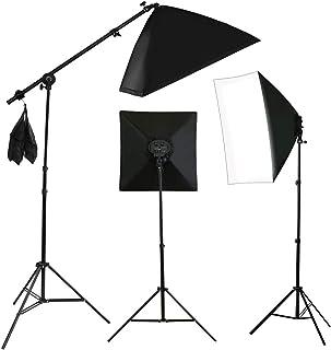 VOLKWELL Photo Studio Soft Box Lighting Kit 8X 55W + 135W 5500K Bulb Lamp, 2PCS 4 Head Socket Continuous Softbox, 3PCS 210...