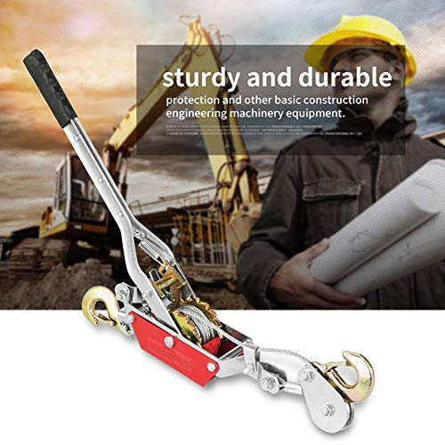 SISHUINIANHUA Drahtseil Ratsche Handkraft Abzieher Spannwerkzeug Mini-Spanner Doppelhaken-Hebewerkzeug (2/4 Tonne) Zahnradwindenabzieher Heiß