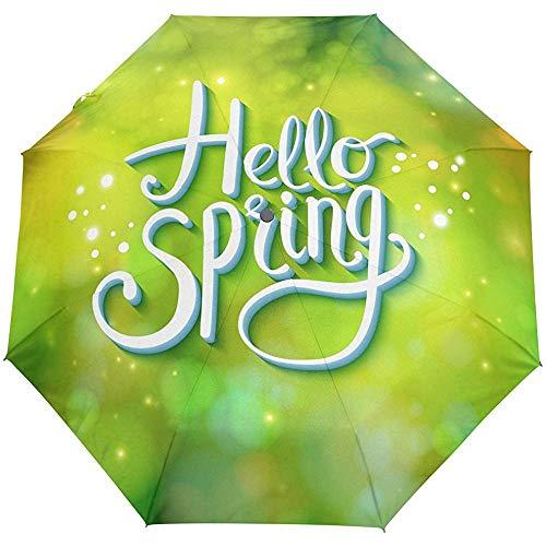 Hallo Frühlingsblumengrün lässt Auto offen nahes Sun-Regen-Regenschirm