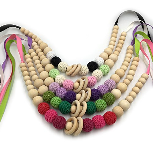 Learn More About Amyster 5pcs Crochet Beads Baby Teether Necklace Beads Safe Teething Necklace with ...