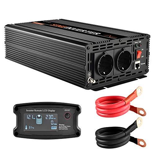 EnRise 1000W Spitzenwert 2000W Reiner Sinus Spannungswandler Wechselrichter DC 12V auf AC 230V
