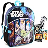 Star Wars Backpack for Boys Kids Bundle ~ Premium 15' Star Wars Schol Bag with Stickers and Bookmark (Star Wars School Supplies)