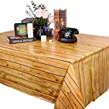 2 Pieces Wood Table Cloth Brown Wood Grain Tablecloth Party Wood Grain Tablecover Rectangular Table Covers for Kitchen Dining Room, Barbecue Party Decoration, 51.2 x 86.6 Inch