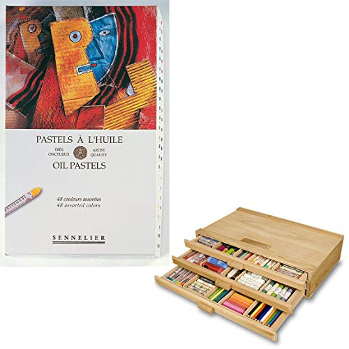 Sennelier Artist Oil Pastel Set - Oil Pastels with High Vibrancy & Brightness w/ 3 Drawer Wood Storage Box - Assorted Colors - Set of 48