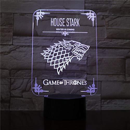 Haus Stark LED Nachtlicht Farbe ändern Kind Kinder Geschenk Winter kommt TV-Spiel Drama Thrones Nachttischlampe Wolf