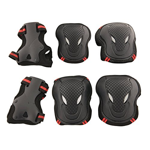 Physport Red Safety Protective Gear Keen,Elbow,Wrist 6 pcs Set Protective Pads Red and Black S Size