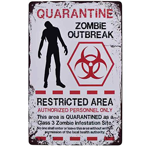 Flytime Warning Restricted Area Quarantine Zombie Outbreak Vintage Tin Signs Retro Metal Plate Wall Decor Funny Coffee Bar Signs 8X12Inch