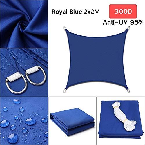 Z.L.FFLZ Sun Shade Cloth Royal Blue 300D Polyester Oxford Fabric Square Rectangle Shade Sail Pergola Cover Canopy Shade Sail (Color : 2x2, Size : E blue)