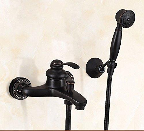 SADASD Moderne Kupfer Bad schwarz Dusche Wasserhahn Set Badewanne Armatur Seitlich montierte Split Duschkopf heiße und kalte Mischbatterie