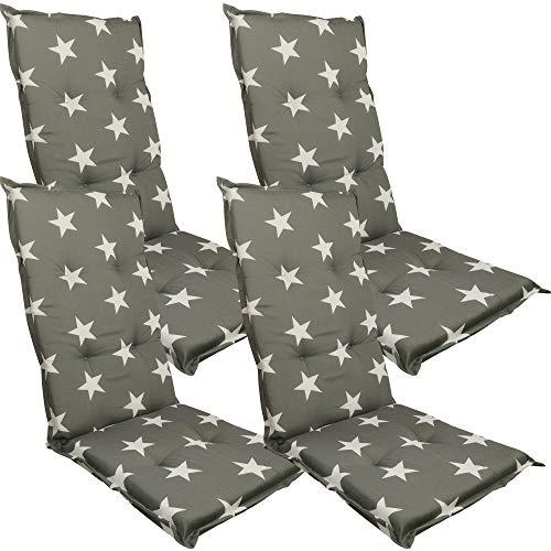 DILUMA Hochlehner Auflage Naxos für Gartenstühle 118x49 cm 4er Set Stern Anthrazit - 6 cm Starke Stuhlauflage mit Komfortschaumkern und Bezug aus 100% Baumwolle - Made in EU mit ÖkoTex100