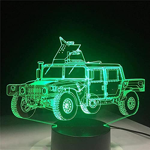 DXJA HCDZF Camión Militar Forma 3D LED Lámpara de Mesa Metacrilato Placa Artesanía Luz Noche Innovadora Deco Nightlight Color Kid Sin Controlador