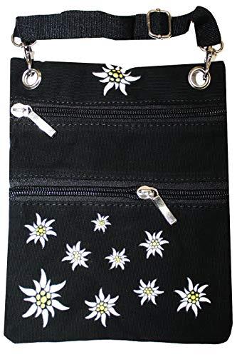 German Wear Trachtentasche Dirndl Tasche mit Edelweiss Trachten Baumwolltasche, Schwarz