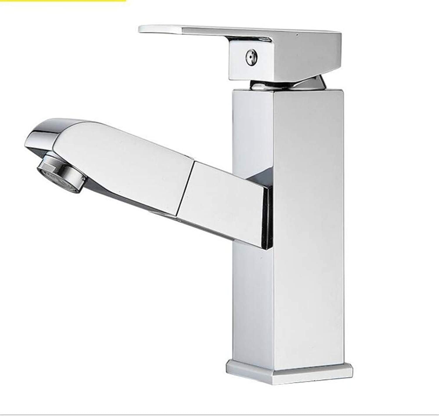 Bathroom Sink Basin Lever Mixer Tap Copper Four-Side Basin Pumping Faucet Cold and Hot Single-Hole Basin Faucet