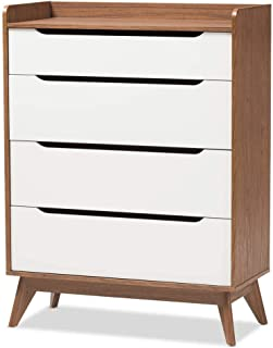 Baxton Studio Brighton 4 Drawer Chest in White and Walnut