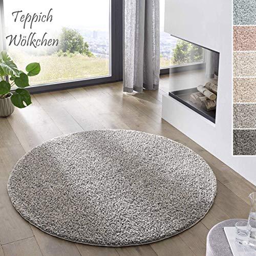 Teppich Wölkchen Shaggy-Teppich | Flauschiger Hochflor für Wohnzimmer, Kinderzimmer oder Flur Läufer | Einfarbig, Schadstoffgeprüft, Allergikergeeignet I Grau - 120 rund
