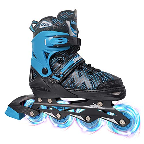 PetGirl Inline Skates for Kids, Adjustable Inlines Skates with Light up Wheels for Girls Boys, Fun Illuminating Blades Ice Skating Equipment for Indoor&Outdoor (Blue, Large - Youth (5-8US))